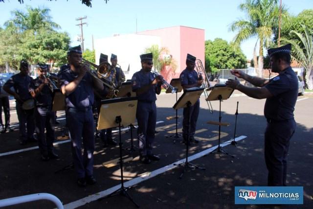 Banda do CPI 10 abrilhantou o evento de passagem de comando. Foto: MANOEL MESSIAS/Agência