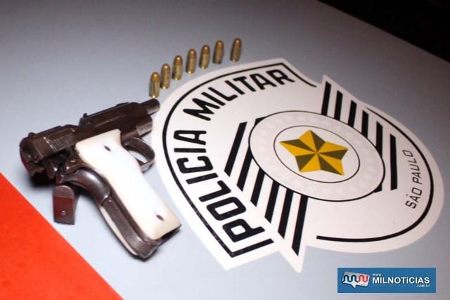Foi apreendida uma pistola .380, com 7 munições intactas. Foto: MANOEL MESSIAS/Agência