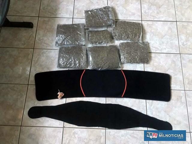 Foram apreendidos 7 pacotes de 'Skunk', considerada uma 'super maconha'. Foto: DIVULGAÇÃO/PMRv