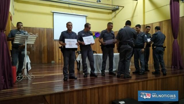 Destaques de abril/19, cabos PMs Cristiano, Balani, Maurício, Félix e soldado PM Suzuki. Foto: DIVULGAÇÃO