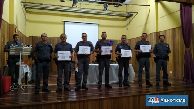 A partir da esq., cabos PMs Cristiano, Balani, Maurício, Félix e soldado PM Suzuki. Foto: DIVULGAÇÃO