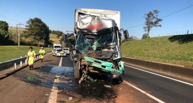 Motorista do caminhão-baú ficou preso nas ferragens e foi socorrido com ferimentos leves — Foto: Polícia Rodoviária/Divulgação