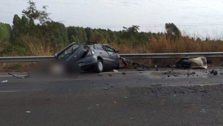 Motorista de carro morre após bater de frente com carreta na BR-158, em Paranaíba (MS). — Foto: Site Destakagora.