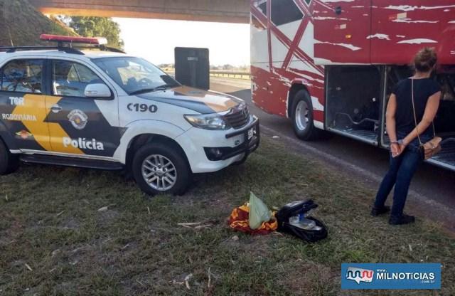 Acusada foi presa quando estava dentro de um ônibus de linha interestadual com itinerário Três Lagoas/MS à Rio Preto/SP. Foto: DIVULGAÇÃO/PMRv