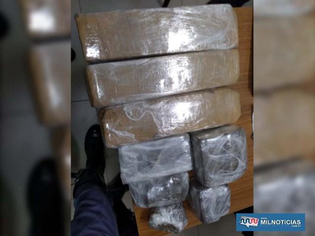 Droga estava armazenada dentro de uma bolsa que a acusada trazia consigo. Foto: DIVULGAÇÃO/PMRv