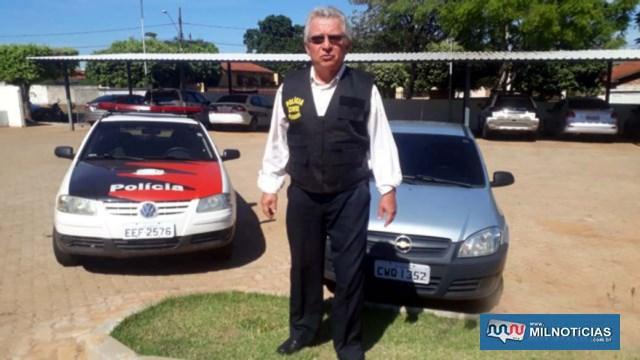Delegado Tadeu apresenta veículo GM Celta foi flagrado na cena do crime por imagens de circuitos de segurança. Foto: MANOEL MESSIAS/Agência