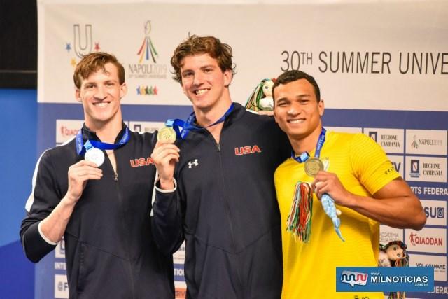 Os americanos Zachary Apple ao centro, foi o medalha de ouro, seu compatriota Tate Jackson foi prata e Marcão o bronze, Foto: Saulo Cruz/CBDU