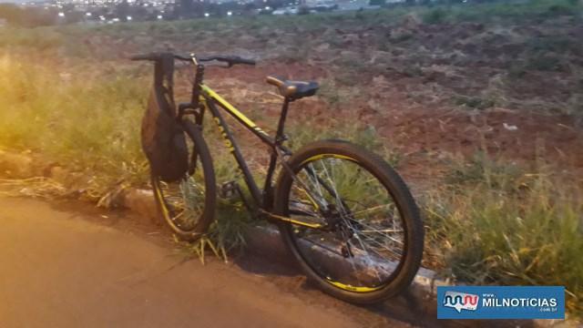 Bicicleta conduzida pelo colaborador da distribuidora de cerveja sofreu pequenas avarias e ficou com o proprietário. Foto: MANOEL MESSIAS/Agência