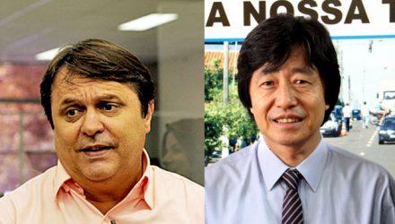 Nei Giron (esq.) e o ex-prefeito e atual assessor de Andradina, Jamil Ono. Foto: DIVULGAÇÃO