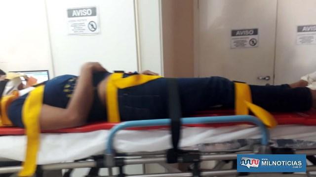 Mulher sofreu lesões e contusões no pé e cotovelo direitos, precisando dos cuidados do Corpo de Bombeiros. Foto: MANOEL MESSIAS/Agência