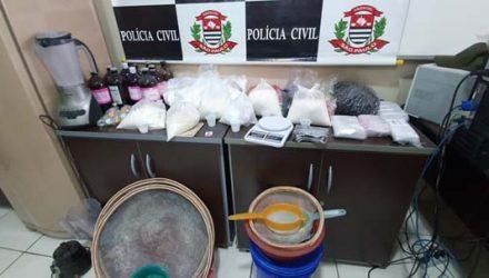 Polícia Civil encontrou refinaria de droga em Paulínia — Foto: Divulgação/Polícia Civil.