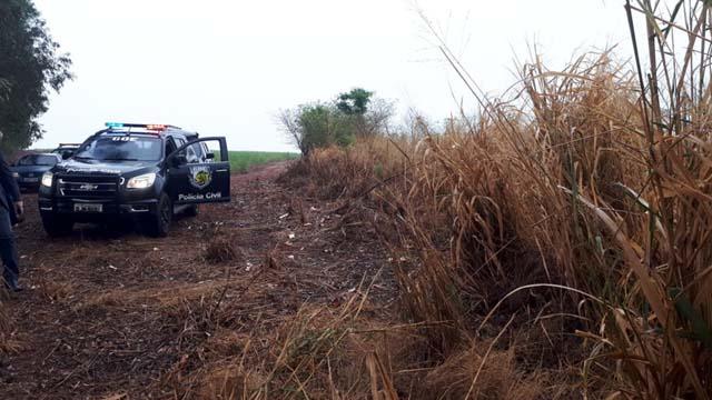 Corpo foi encontrado em uma área de canavial na região de Bariri — Foto: Polícia Civil / Divulgação