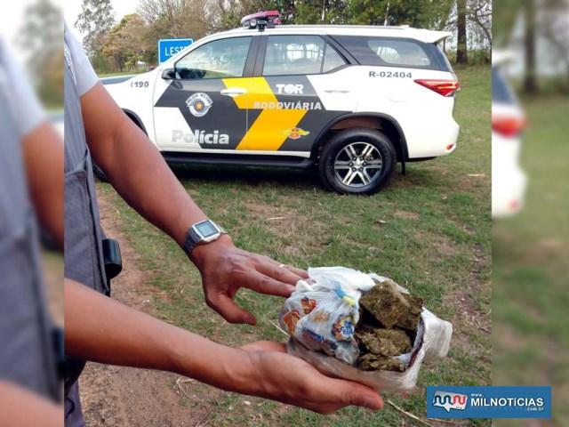 Foi apreendido um pacote contendo 250 gramas de maconha, que estava escondido na cueca do acusado. Foto: DIVULGAÇÃO/PMRv