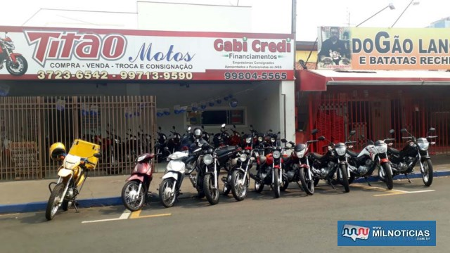 Revenda de motos vítima do furto esta localizada na rua Santa Terezinha, próximo do cruzamento com a Av. Guanabara, centro. Foto: MANOEL MESSIAS/Agência