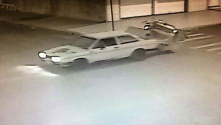 Câmeras de segurança flagraram a ação criminosa do indivíduo quando furtava a betoneira. Foto: DIVULGAÇÃO
