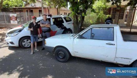 Picape VW Saveiro, foi furtada durante a madrugada de terça-feira, 15, foi localizada abandonada na rua Iguaçu, vila Mineira e devolvida ao proprietário. Foto: DIVULGAÇÃO/PM