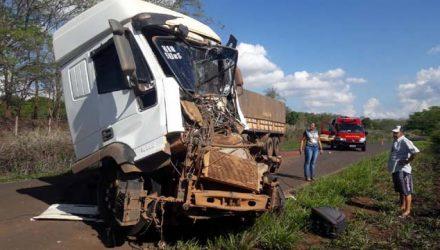 Carreta ficou parcialmente destruída após acidente em Ilha Solteira — Foto: Divulgação/Guarda Civil Municipal