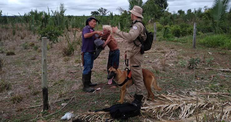 Bombeiros usam drone e cão farejador e encontram idoso de 89 anos desaparecido em serra de Pontes e Lacerda — Foto: Corpo de Bombeiros de Mato Grosso/Assessoria.