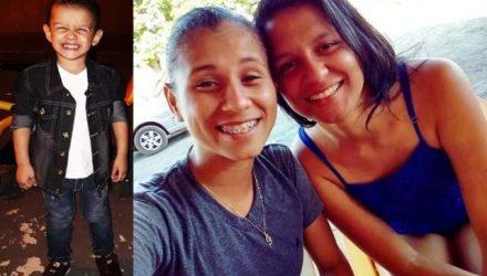 Na foto, Davi Gustavo, a mãe e a companheira dela. Foto: Facebook/Reprodução
