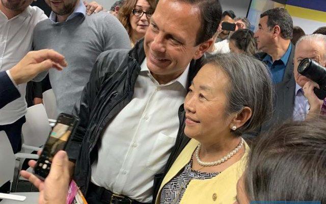 Prefeita Tamiko Inoue com o governador João Dória. Foto: DIVULGAÇÃO
