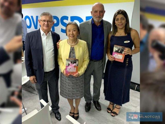 A partir da esq., vereador Edgar Dourado, prefeita Tamiko, vereador Joaquinzão e Leila Rodrigues, do PSDB Mulher de Andradina. Foto: DIVULGAÇÃO