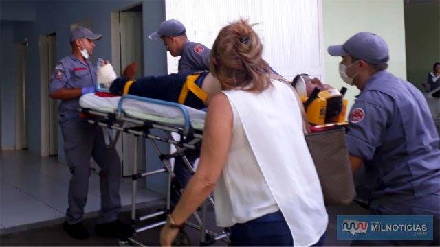 Comerciante de 52 anos sofreu cortes e fraturas no 'peito' do pé esquerdo, sendo socorrido até a Unimed, permanecendo internado após cirurgia. FOTO: MANOEL MESSIAS/Agência