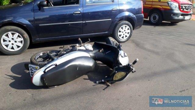 Motoneta Biz causadora do acidente sofreu algumas avarias em sua carenagem. FOTO: MANOEL MESSIAS/Agência