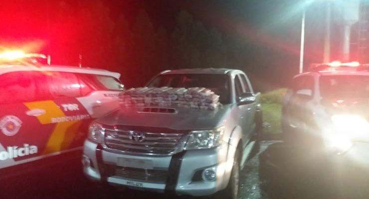 Tijolos de maconha foram apreendidos em Avaí — Foto: Polícia Rodoviária / Divulgação.