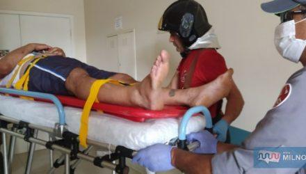 Comerciante sofreu escoriações e contusões pelo corpo, sendo socorrido pelos bombeiros até a UPA, permanecendo em observação. Foto: MANOEL MESSIAS/Agência