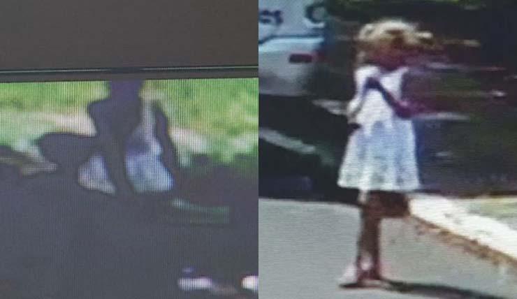 Câmera de segurança mostra menina em praça momentos antes de desaparecer em Chavantes — Foto: Câmera de segurança/Reprodução.