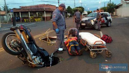 Acidente aconteceu na Av. Rio Grande do Sul, cruzamento com a rua Floriano Peixoto (ao fundo), divisa de dois bairros. Foto: MANOEL MESSIAS/Agência