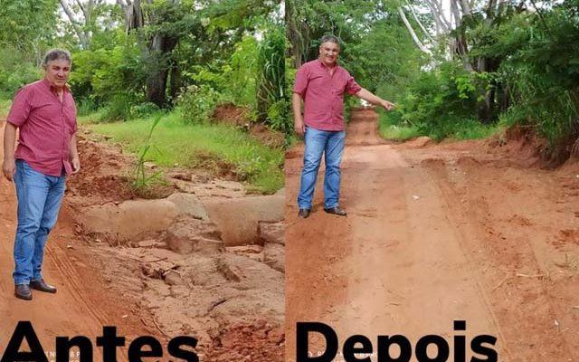 Estradas rurais que foram prejudicadas pelas chuvas receberam reparos pelo Departamento de Obras após orientação do prefeito Gilson. Fotos: Reinaldo Aro
