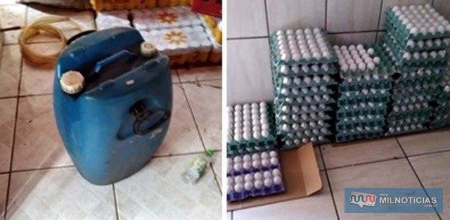 Ovos e um tambor de diesel apreendidos durante a ação. Foto: 1ªDP/TL.