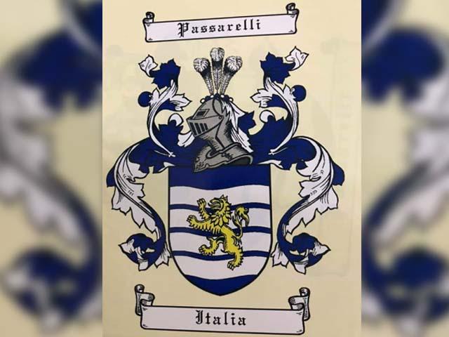 Brasão da Famíluia Passarelli, que tem origem na Itália. Foto: DIVULGAÇÃO