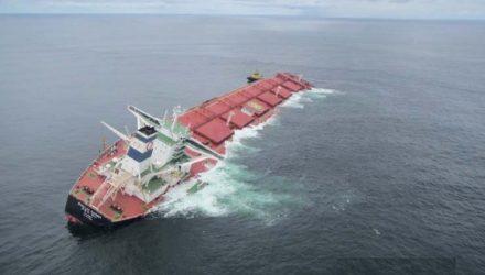 Navio Stellar Banner está encalhado há duas semanas na costa do Maranhão — Foto: Divulgação/Marinha do Brasil.