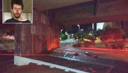 Jovem de 20 anos (no destaque) foi morto a tiros perto do viaduto da Duque de Caxias sobre avenida Nações Unidas — Foto: Polícia Civil/Divulgação.