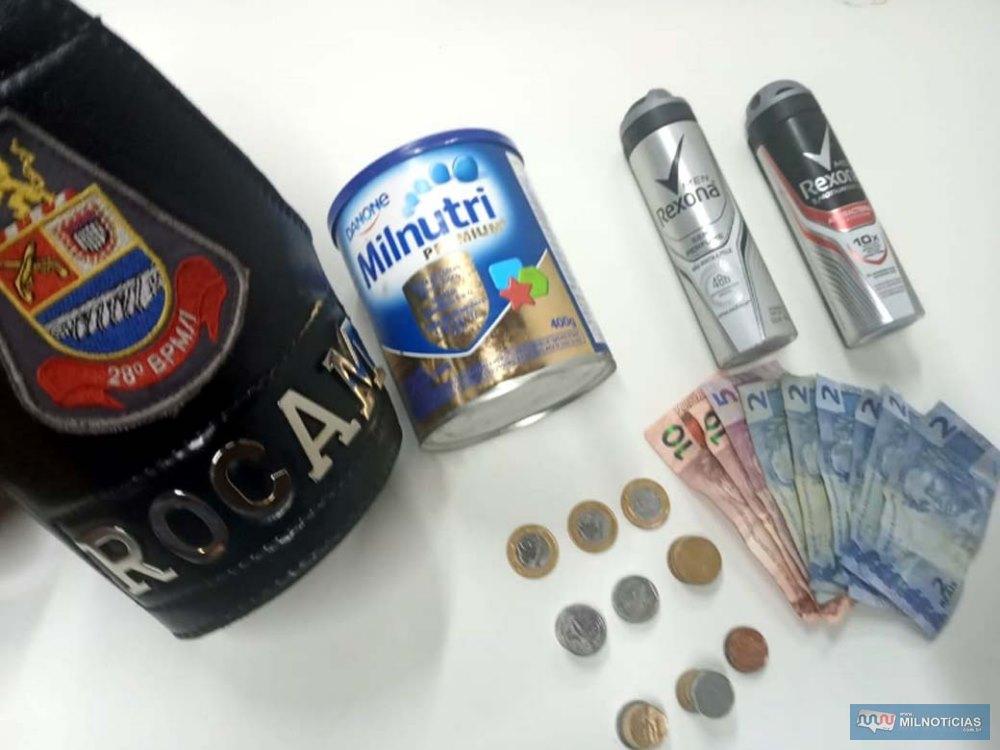 Foram recuperados dois frascos de desodorante e uma lata de composto vitamínico, além de R$ 46,00 em dinheiro. Foto: DIVULGAÇÃO/PM