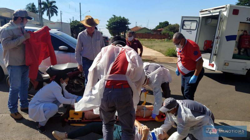 Mulher de 45 anos foi socorrida com escoriações pelo corpo e suspeita de fratura na perna esquerda. Foto: MIL NOTICIAS/Agência