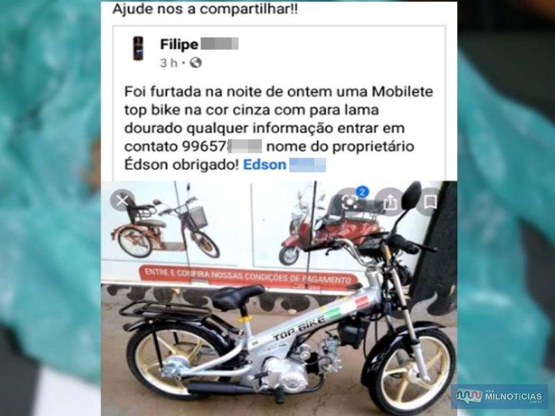 Família do aposentado postou em rede social o furto do veículo. Foto: Facebook/Reprodução