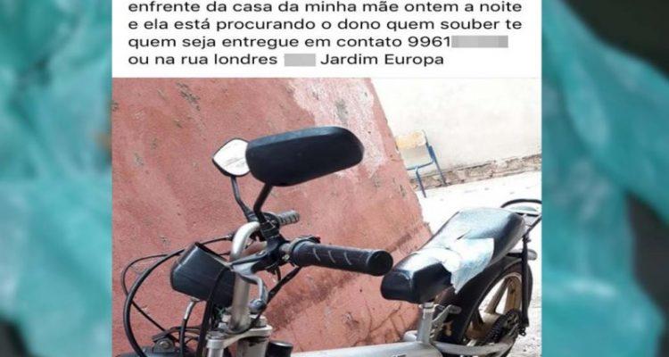 Parente da mulher que localizou a bicicleta motorizada abandonada, também postou em rede social sua localização. Foto: Facebook/Reprodução