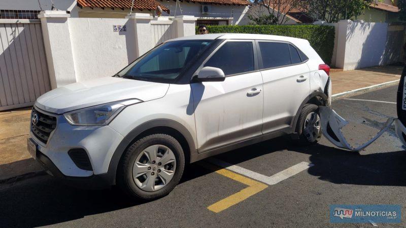 Hyundai Creta sofreu amassamentos no parachoque e paralama, lado esquerdo traseiro. Foto: MANOEL MESSIAS/Agência