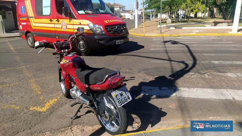 CG 125cc, na cor vermelha sofreu entortamento da balança traseira, quebra do retrovisor e riscos no tanque. Foto: MANOEL MESSIAS/Agência