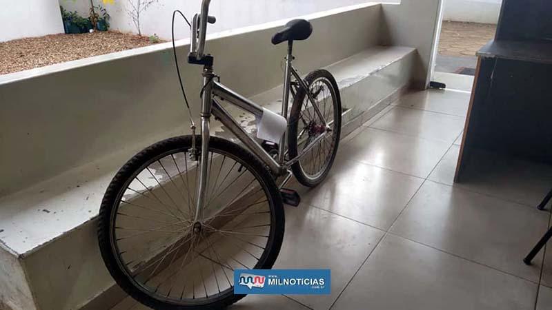 Bicicleta que estava com um dos acusados foi apreendida pela Polícia Civil. Foto: MANOEL MESSIAS/Agência