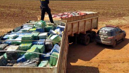 Carreta Bitrem carregada com 33,3 toneladas de Maconha. / Foto: ASSECOM DOF