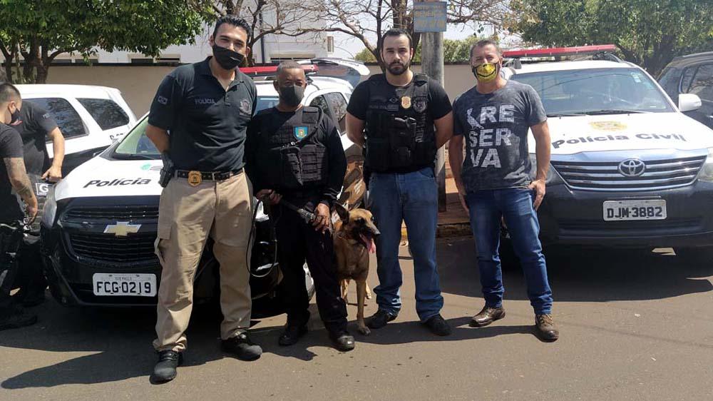 Cão farejador do Canil da Penitenciária de Mirandópolis auxiliou nas buscas aos entorpecentes. Foto: MANOEL MESSIAS/Agência