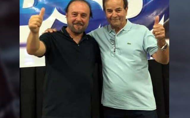 Mário Celso (esq.), junto com Paulo Assis, no lançamento da candidatura a prefeito e vice, respectivamente. Foto: MANOEL MESSIAS/Agência