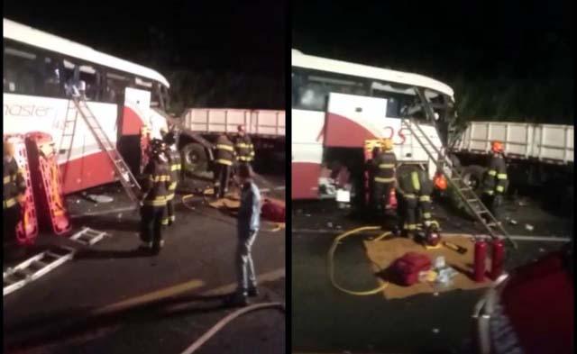 Acidente ocorreu por volta das 21h30 de ontem, e vitimou mais de 20 pessoas, dos quais 7 morreram. Foto: DIVULGAÇÃO