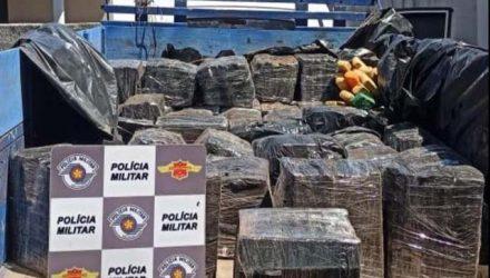 Droga foi apreendida em carroceria de caminhão parado em rodovia de Cosmorama — Foto: Arquivo Pessoal