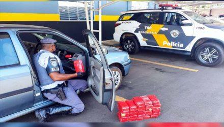 Homem foi preso com pouco mais de 30 Kg de pasta base de cocaína. Foto: PMRv/Divulgação