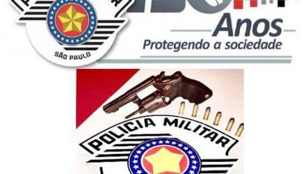 Foi apreendido um revólver calibre .38, municiado com 6 cartuchos intactos. Foto: PM/Divulgação,